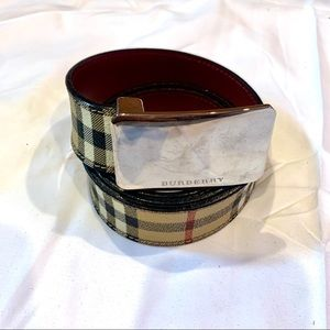 Burberry Plaid Leather Belt 36/90